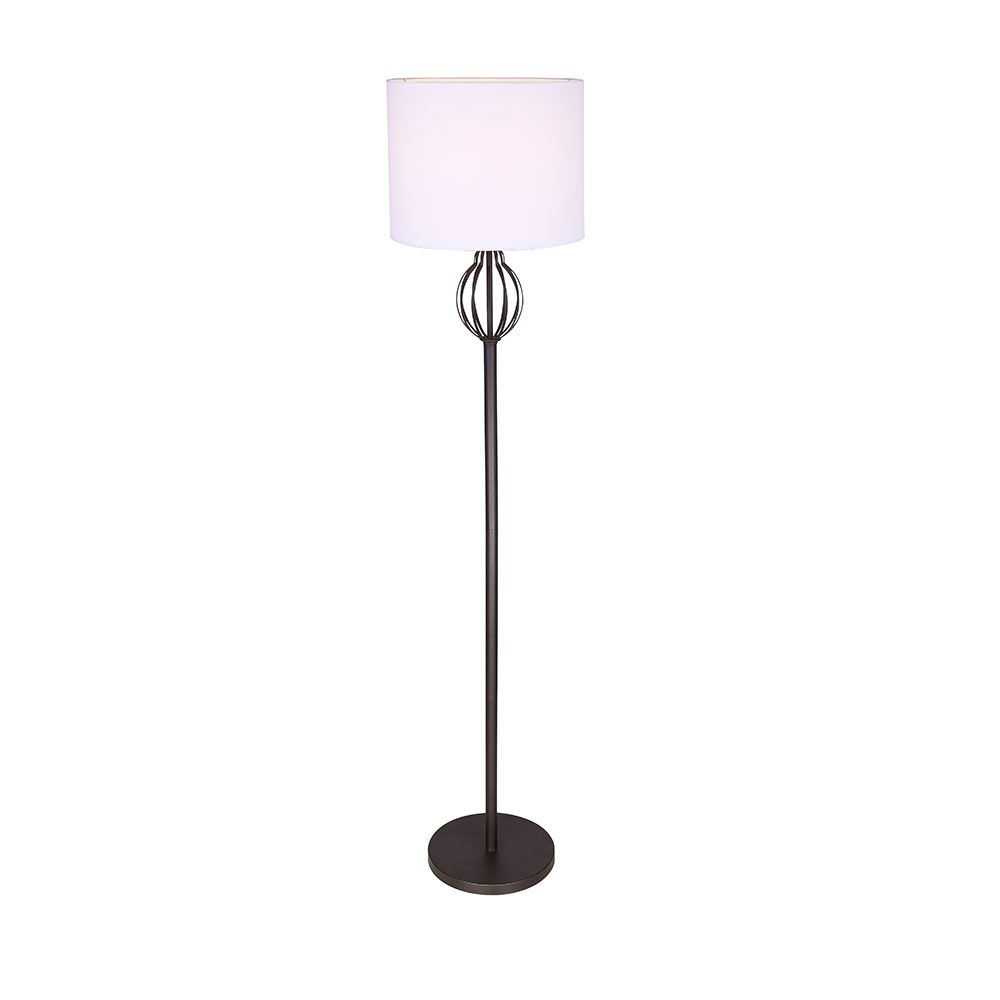 COMPASS 1 Light Oil Rubbed Bronze Floor Lamp with White Fabric Shade