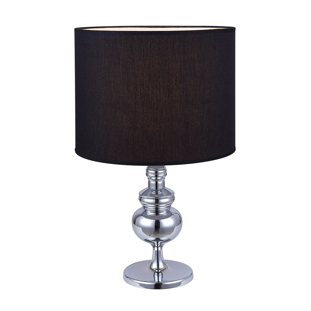 CAPITAL 1 Light Chrome Table Lamp with Black Fabric Shade ITL538A23CH in Canada