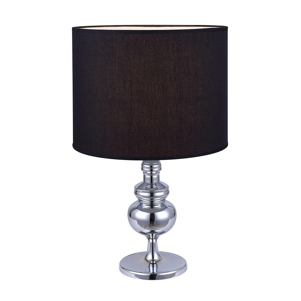 CAPITAL une lumière lampe de table chromé avec abat-jour en tissu noir