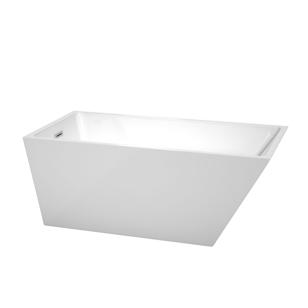 Wyndham Collection Hannah 59-inch Acrylic Flatbottom Back Drain Soaking Tub in White