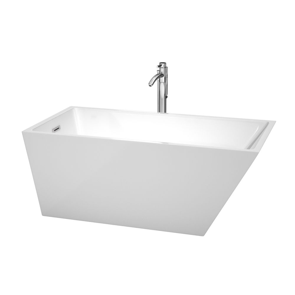 Wyndham Collection Hannah 59-inch Acrylic Back Drain Soaking Tub in White with Floor Mounted Faucet in Chrome