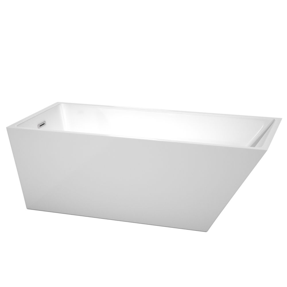 Wyndham Collection Hannah 67-inch Acrylic Flatbottom Back Drain Soaking Tub in White