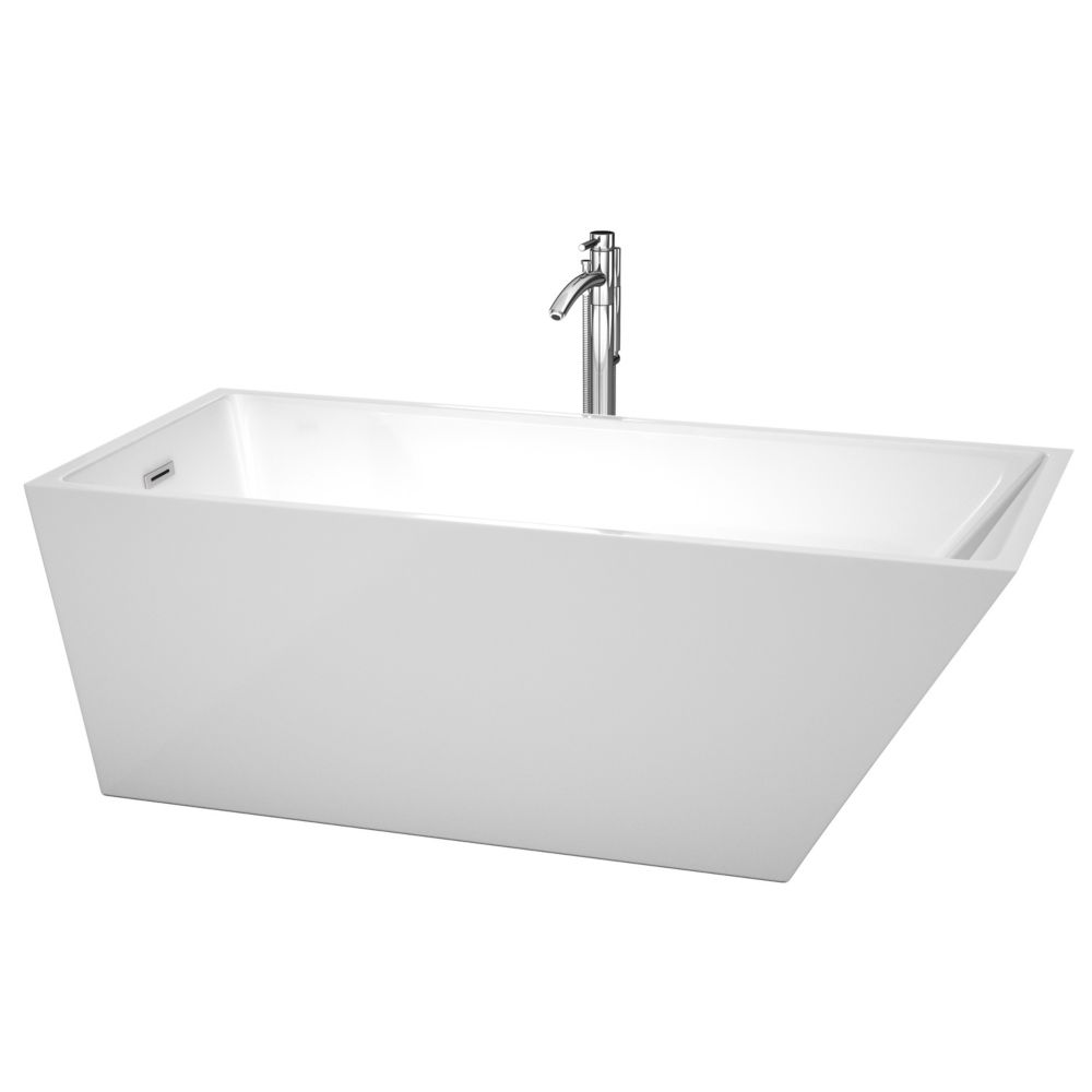 Wyndham Collection Hannah 67-inch Acrylic Back Drain Soaking Tub in White with Floor Mounted Faucet in Chrome