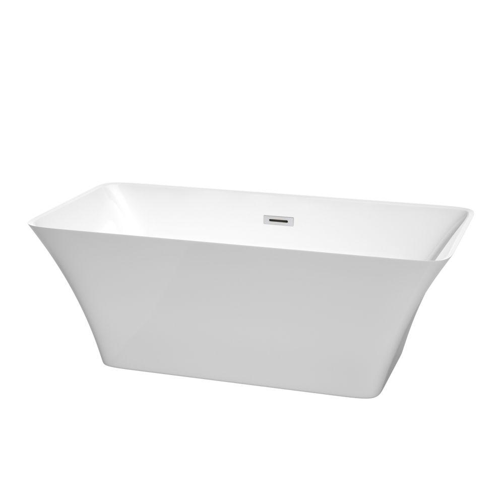 Tiffany 5 Feet Acrylic Freestanding Flatbottom Non Whirlpool Bathtub in White