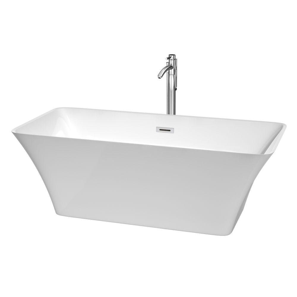 Baignoire détente blanche avec drain centré et robinet chromé fixé au sol Tiffany de 5,67 pi
