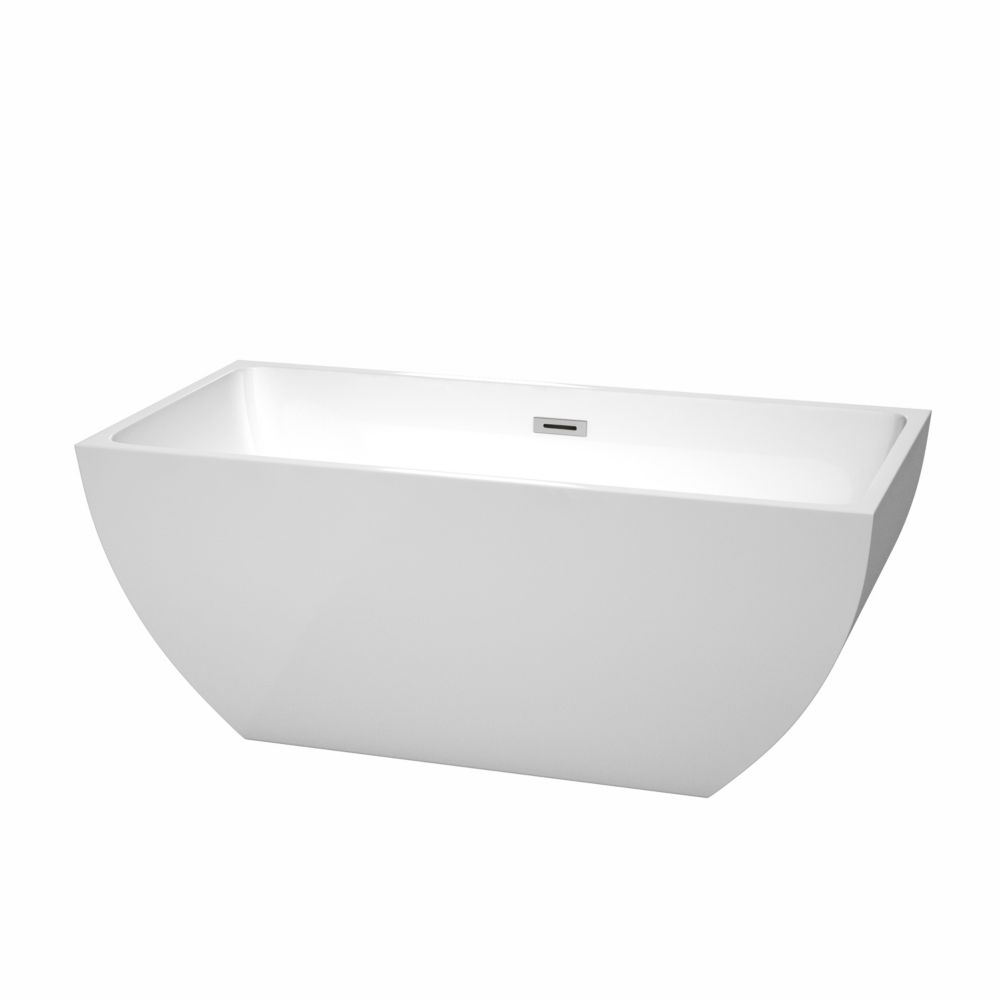 Rachel 4 Feet 11-Inch Acrylic Freestanding Non Whirlpool Bathtub in White