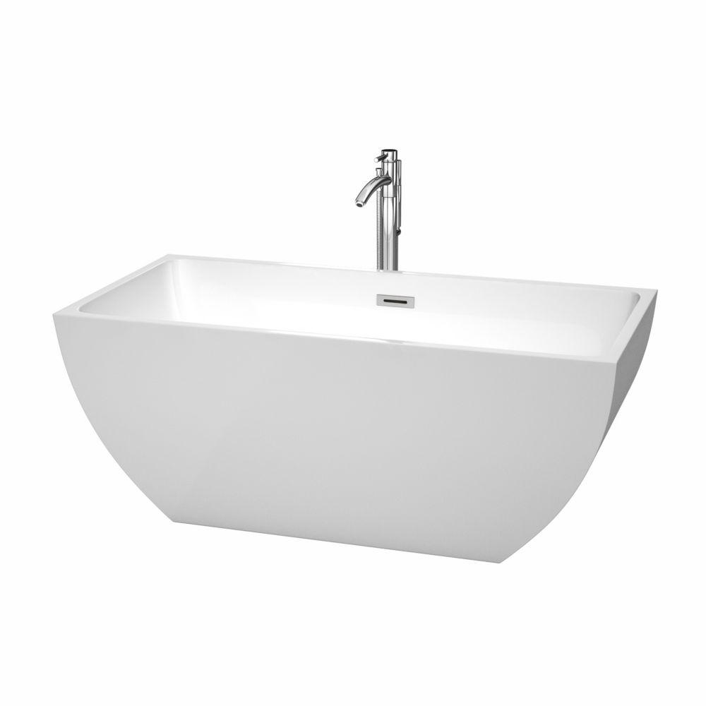 Rachel 4 Feet 11-Inch Acrylic Freestanding Non Whirlpool Bathtub in White