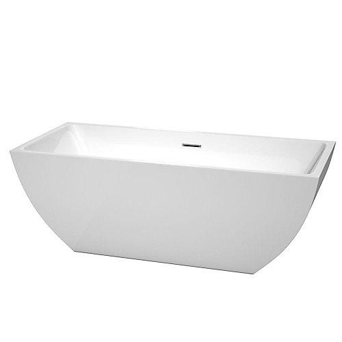 Rachel 67-inch Acrylic Flat-Bottom Centre Drain Soaking Tub in White