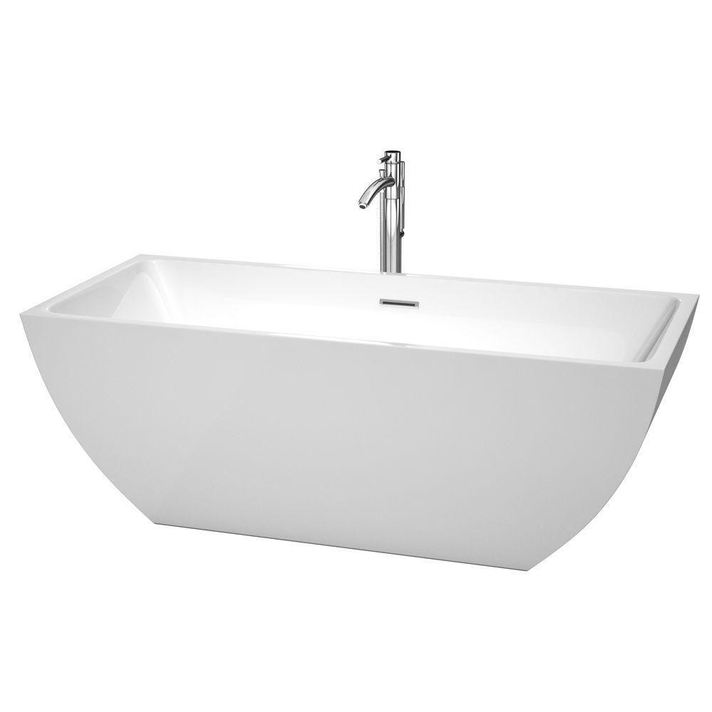 Rachel 5 Feet 7-Inch Acrylic Freestanding Non Whirlpool Bathtub in White