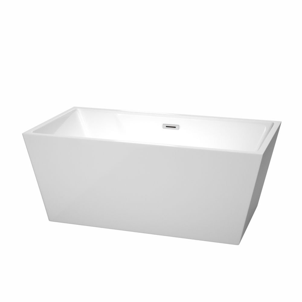 Sara 4 Feet 11-Inch Acrylic Freestanding Non Whirlpool Bathtub in White