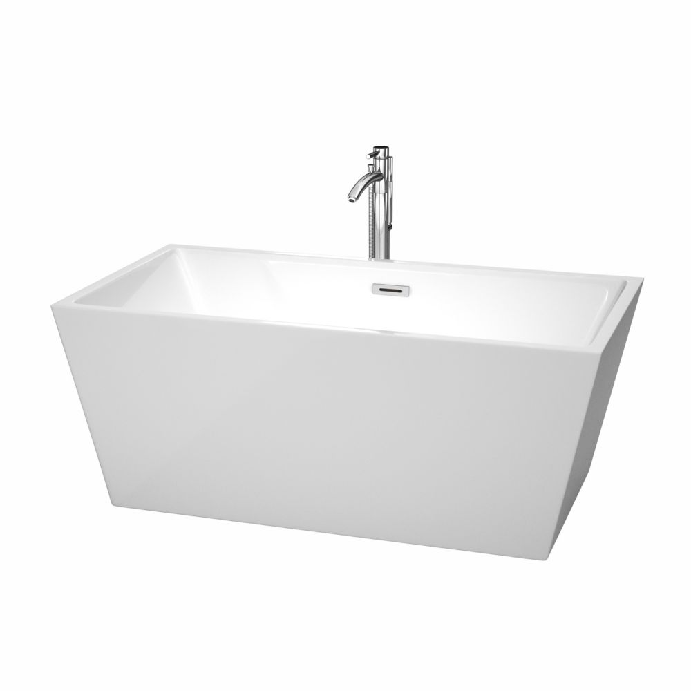 Sara 4 Feet 11-Inch Acrylic Freestanding Non Whirlpool Bathtub in White