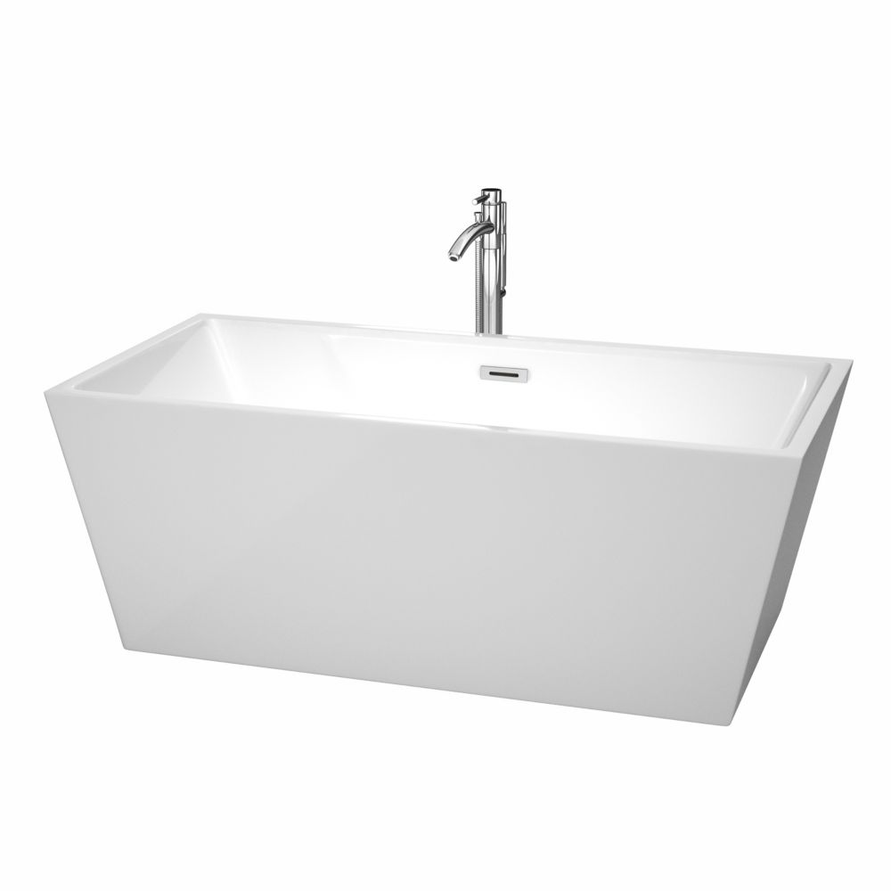 Wyndham Collection Sara 63-inch Acrylic Centre Drain Soaking Tub in White with Floor Mounted Faucet in Chrome