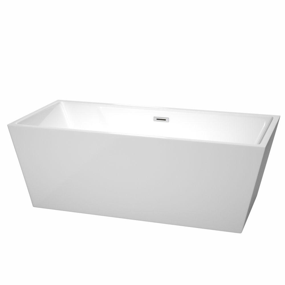 Sara 5 Feet 8-Inch Acrylic Freestanding Non Whirlpool Bathtub in White