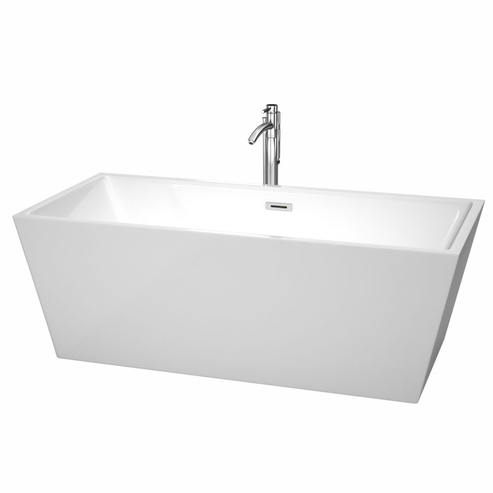 Sara 5.59 Ft. Center Drain Soaking Tub in White with Floor Mounted Faucet in Chrome WCBTK151467ATP11PC in Canada