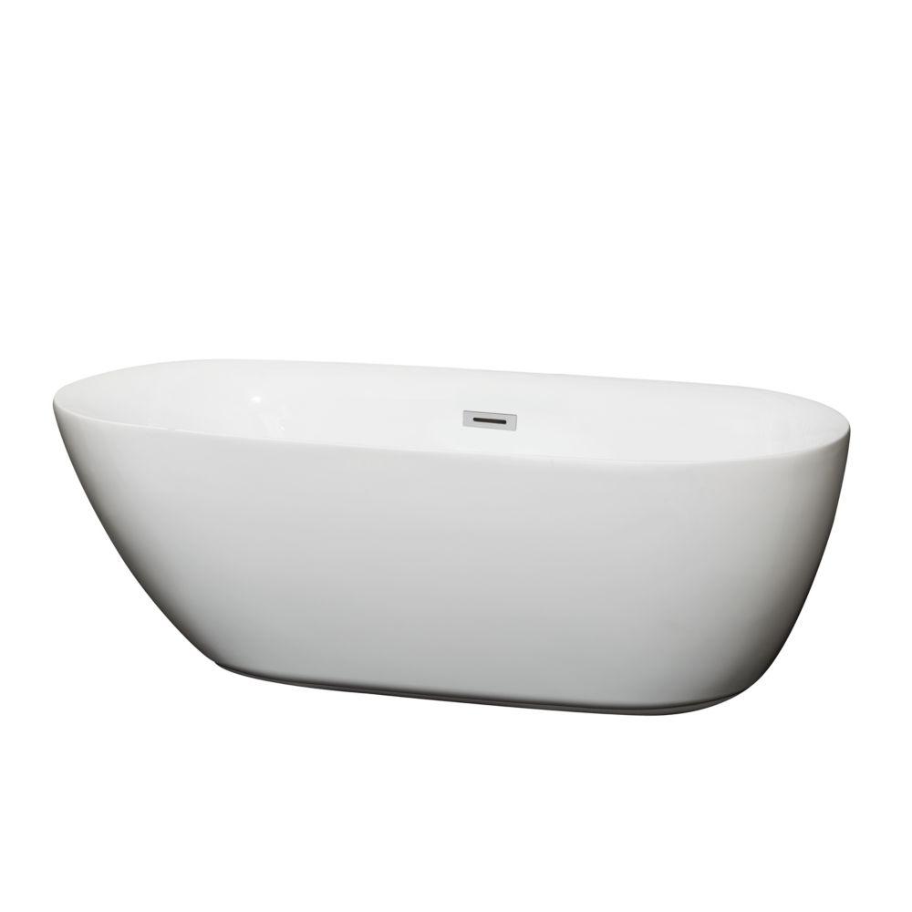 Melissa 1,65m 5,42pi Baignoire blanche avec drain centré
