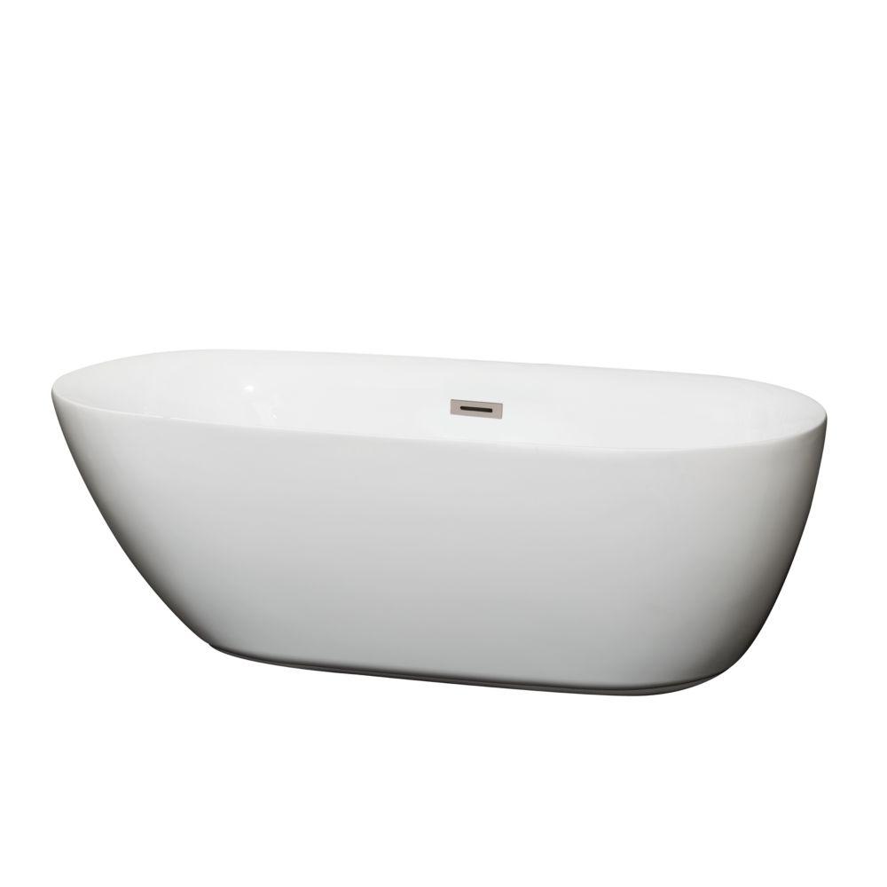 Melissa 5 Feet 5-Inch Soaker Bathtub with Centre Drain in White