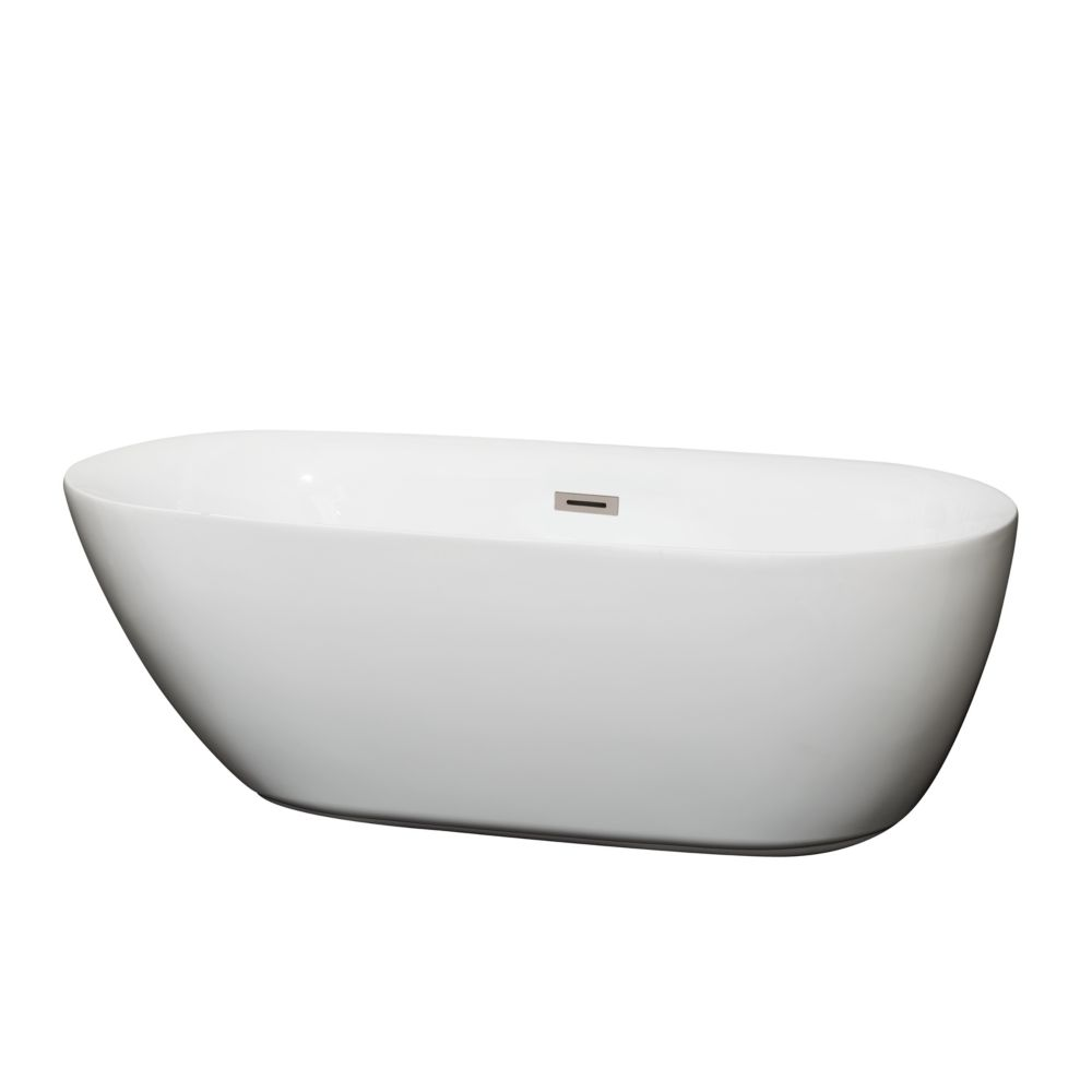 Wyndham Collection Melissa 5.42 ft. Centre Drain Soaking Tub in White