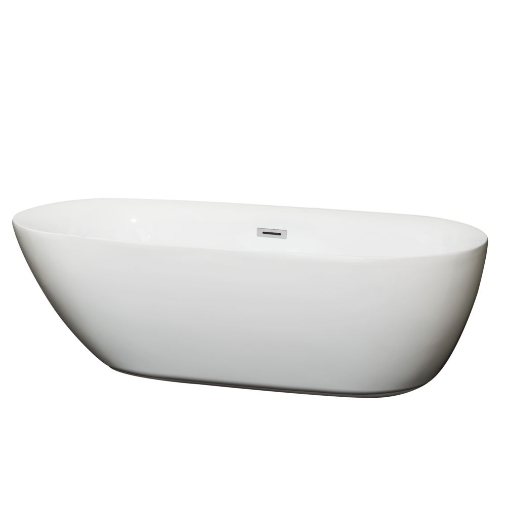 Wyndham Collection Melissa 70.75-inch Acrylic Flatbottom Centre Drain Soaking Tub in White