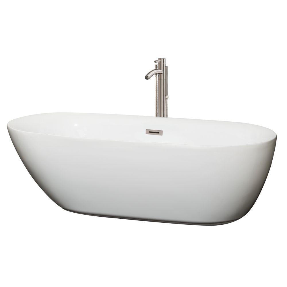Melissa 5,92 pi Baignoire détente blanche et drain centré et robinet nickel brossé fixé au sol