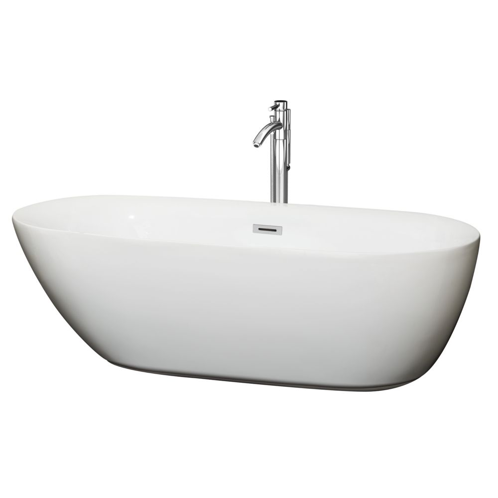 Wyndham Collection Melissa 70.75-inch Acrylic Centre Drain Soaking Tub in White with Floor Mounted Faucet in Chrome
