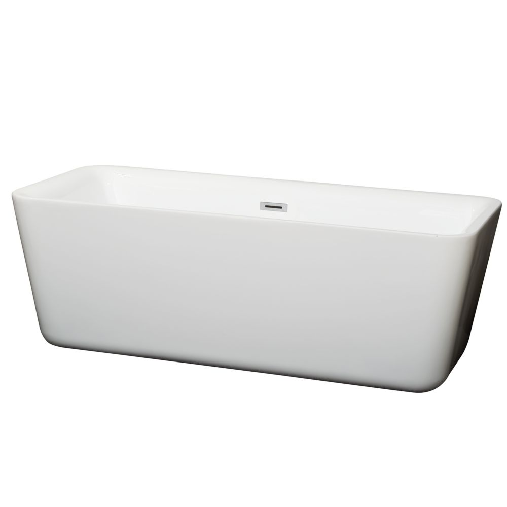 Wyndham Collection Emily 68.88-inch Acrylic Flatbottom Centre Drain Soaking Tub in White