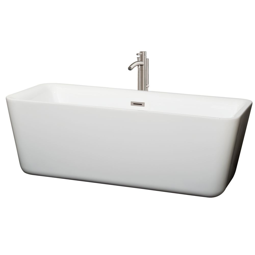 Wyndham Collection Emily 68.88-inch Acrylic Centre Drain Soaking Tub in White with Floor Mount Faucet in Brushed Nickel