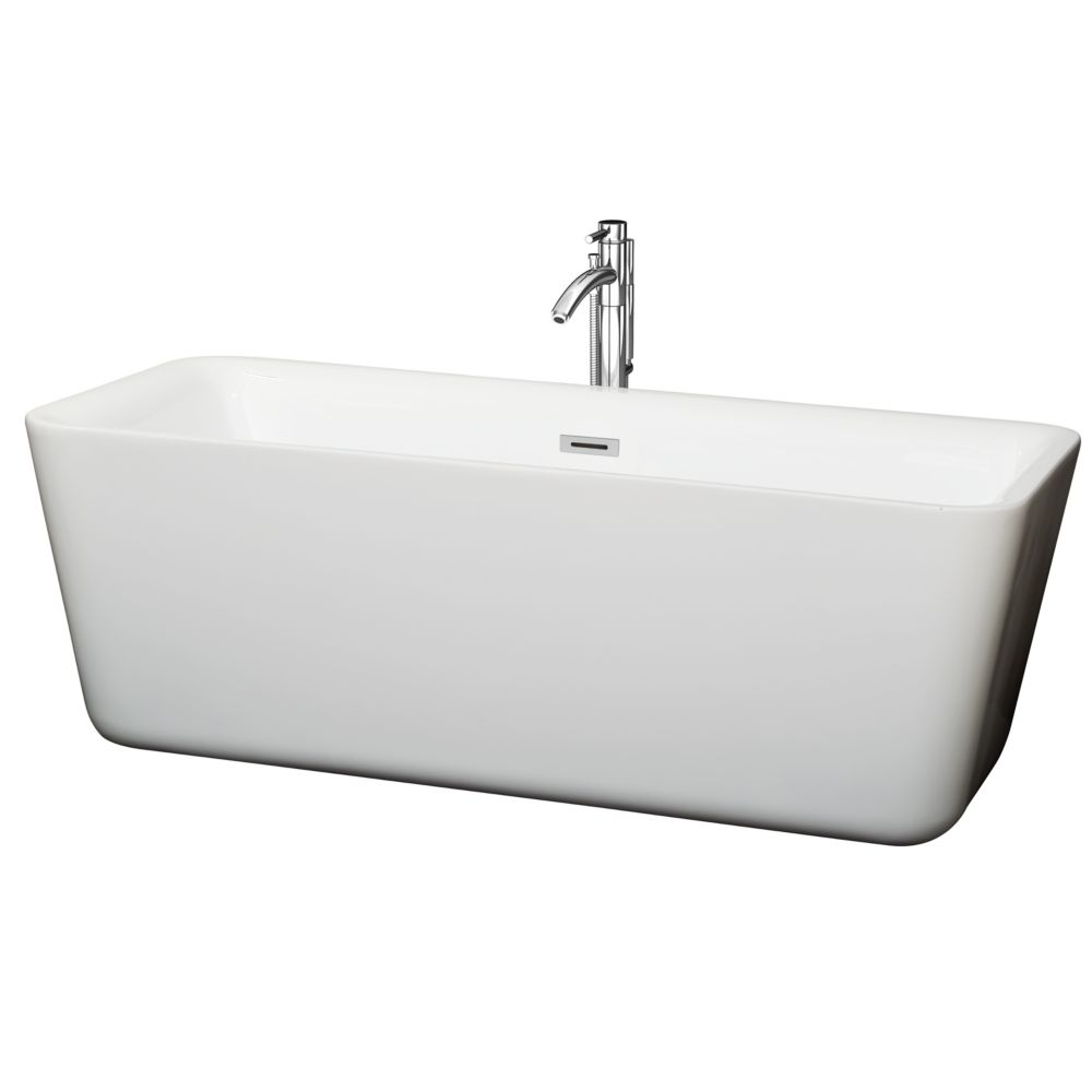 Emily 5 Feet 9-Inch Soaker Bathtub with Floor Mounted Faucet in Chrome and Centre Drain