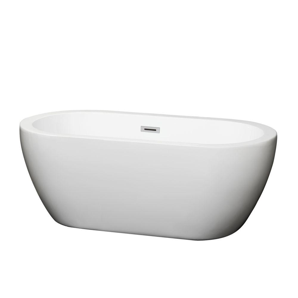 Soho 59.75-inch Acrylic Flat Bottom Centre Drain Soaking Tub in White