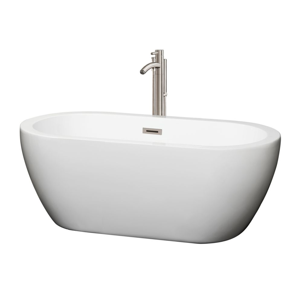 Soho 59.75-inch Acrylic Centre Drain Soaking Tub in White with Floor Mount Faucet in Brushed Nickel