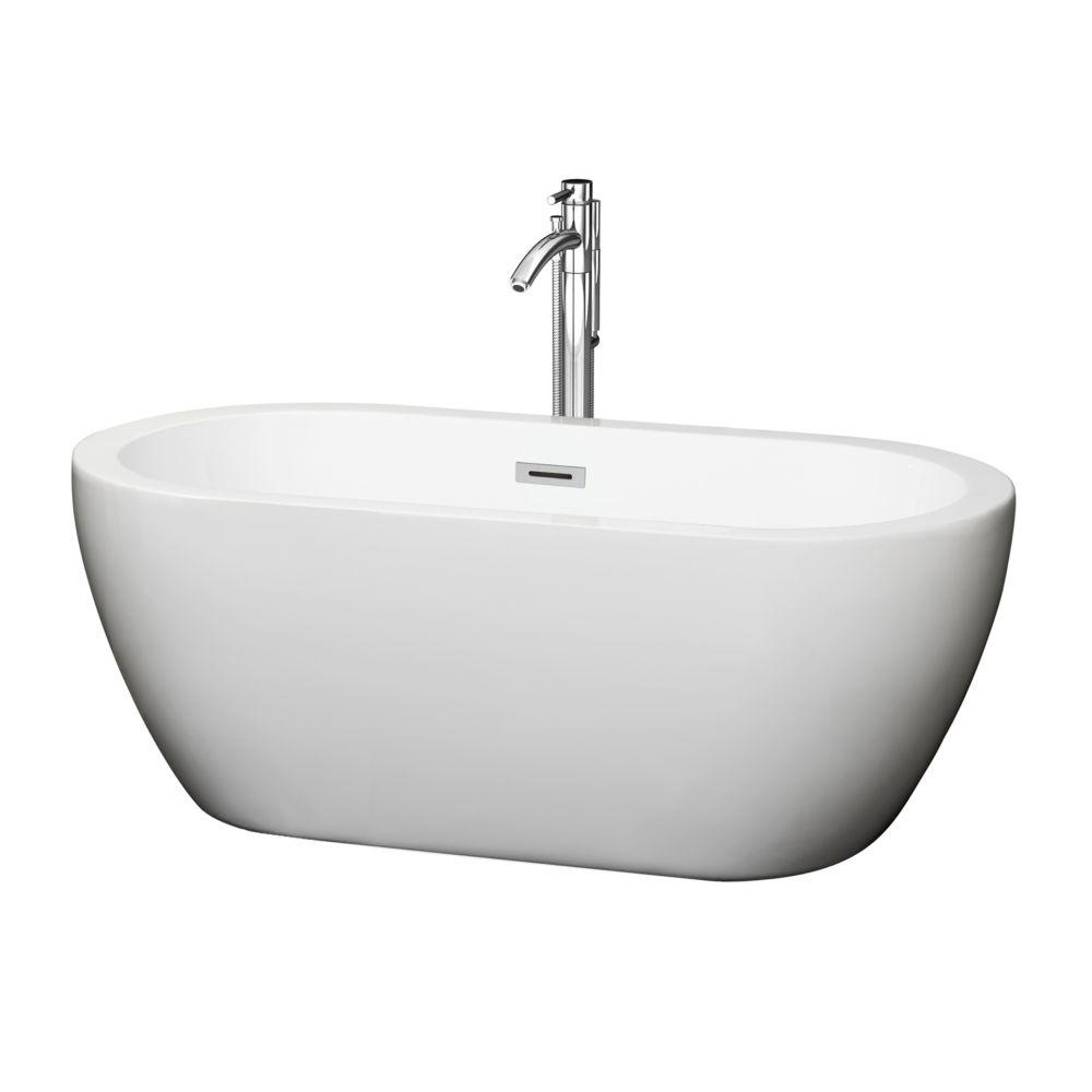 Soho de 5 pi Baignoire détente blanche avec drain centré et robinet chromé fixé au sol