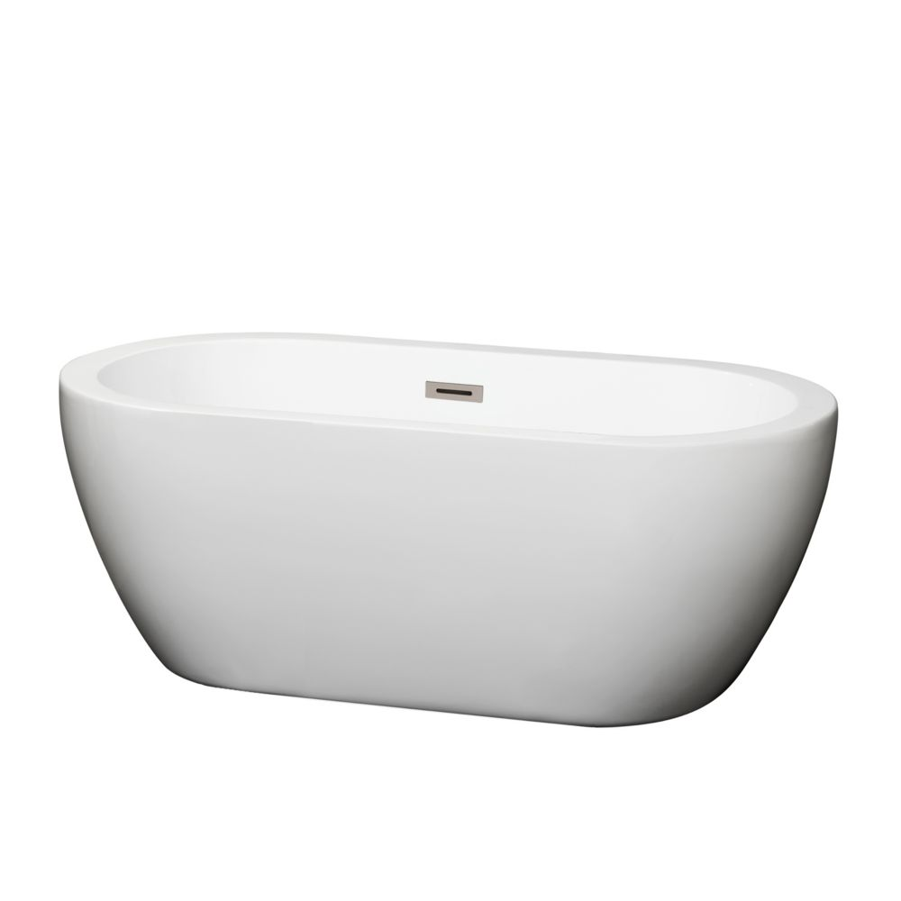 Soho 5 Feet Acrylic Freestanding Flatbottom Non Whirlpool Bathtub in White