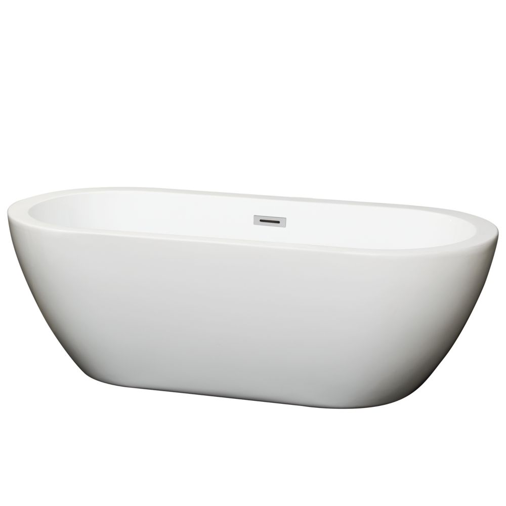 Soho 5 Feet 8-Inch Acrylic Freestanding Flatbottom Non Whirlpool Bathtub in White
