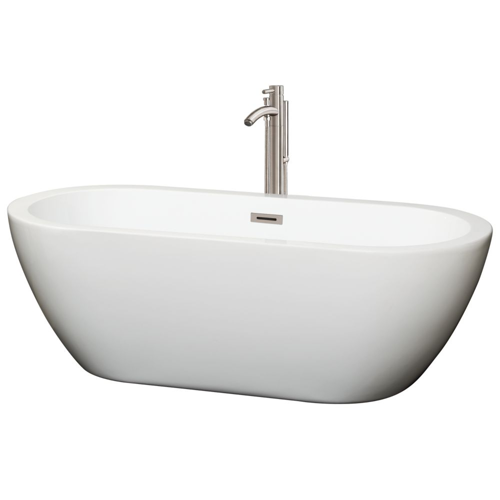 Soho 68-inch Acrylic Centre Drain Soaking Tub in White with Floor Mounted Faucet in Brushed Nickel