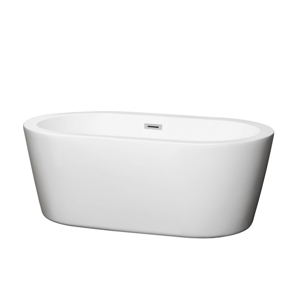 Mermaid 5 Feet Soaker Bathtub with Centre Drain in White