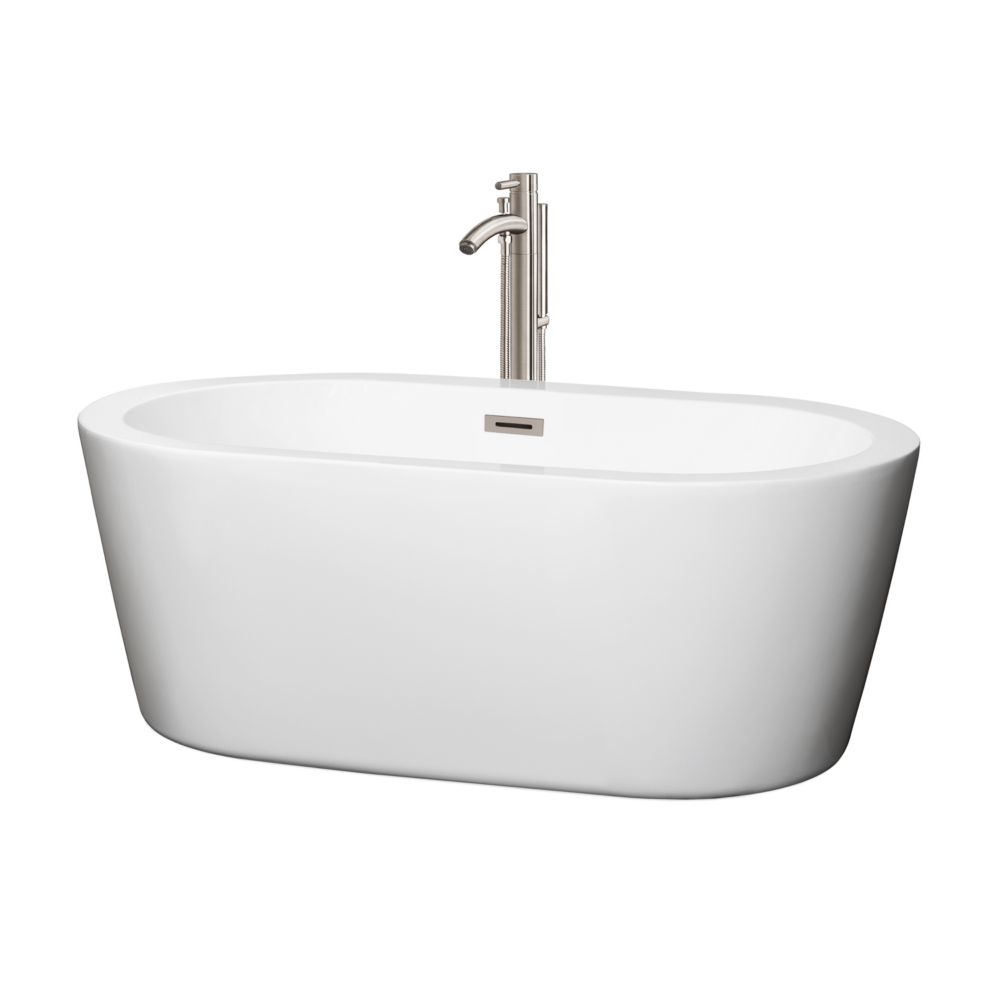 Mermaid 60-inch Acrylic Centre Drain Soaking Tub in White with Floor Mount Faucet in Brushed Nickel