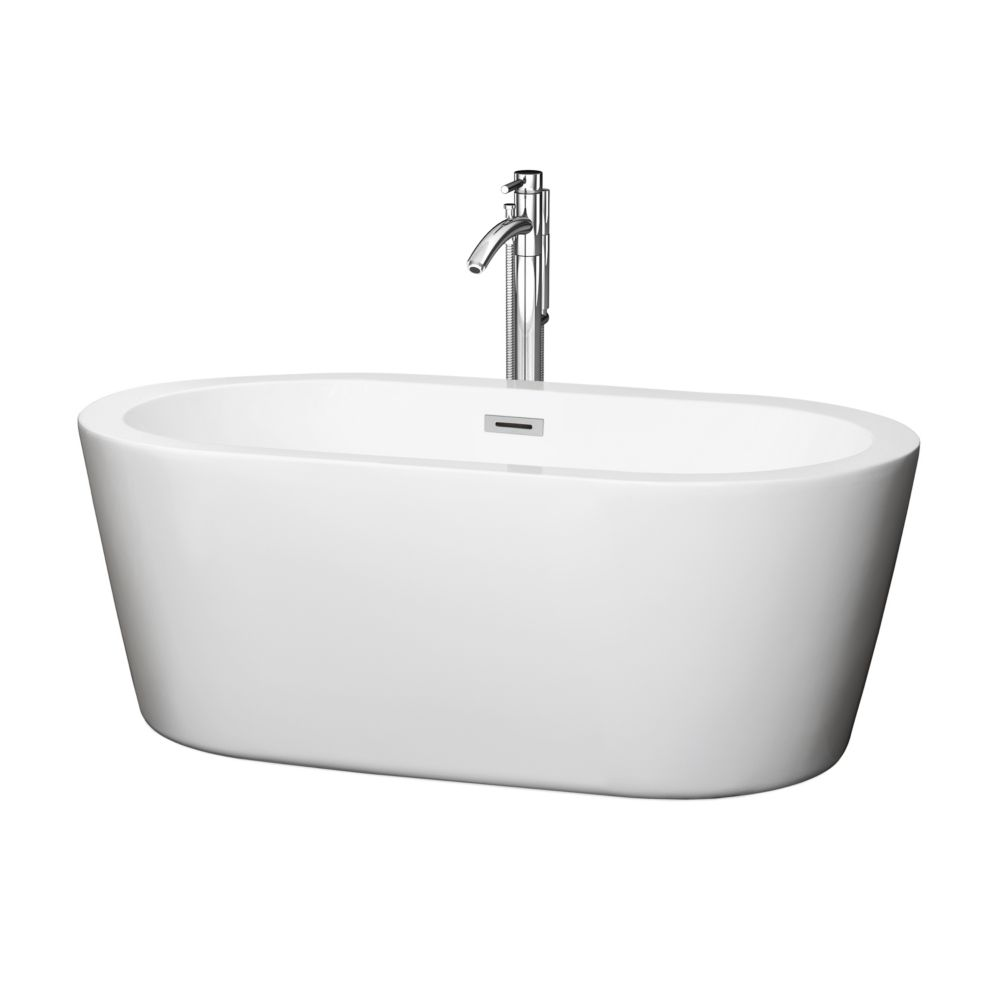 Wyndham Collection Mermaid 60-inch Acrylic Centre Drain Soaking Tub in White with Floor Mounted Faucet in Chrome