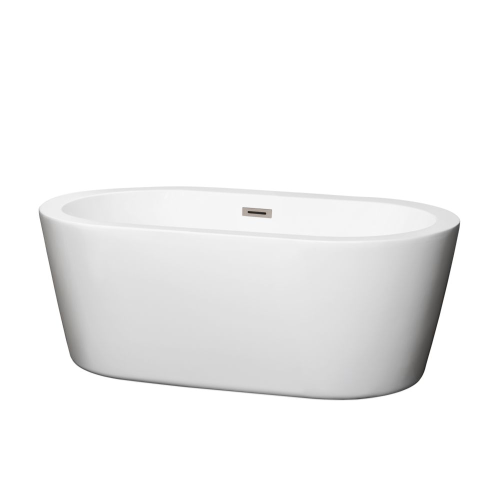 Wyndham Collection Mermaid 5 ft. Centre Drain Soaking Tub in White