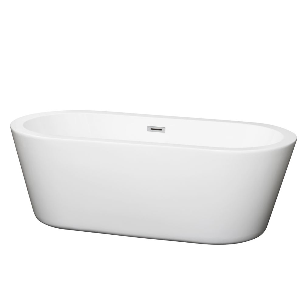 Wyndham Collection Mermaid 67-inch Acrylic Flatbottom Centre Drain Soaking Tub in White