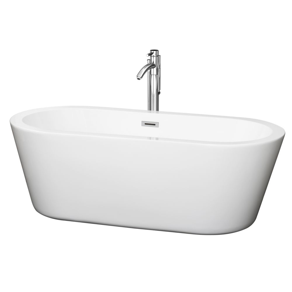 Mermaid 67-inch Acrylic Centre Drain Soaking Tub in White with Floor Mounted Faucet in Chrome