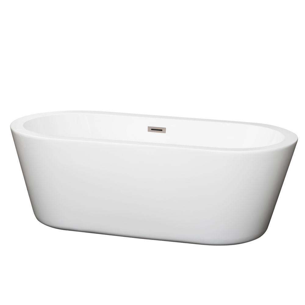 Mermaid 5 Feet 7-Inch Soaker Bathtub with Centre Drain in White