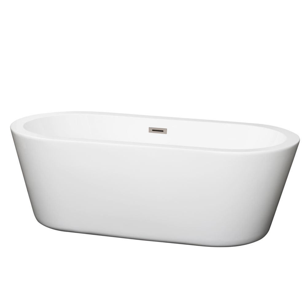 Wyndham Collection Mermaid 5.58 ft. Centre Drain Soaking Tub in White