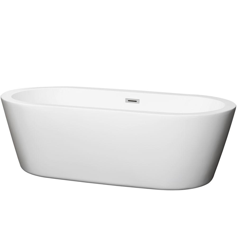 Mermaid 5 Feet 11-Inch Soaker Bathtub with Centre Drain in White