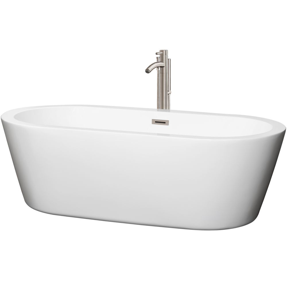 Mermaid 5.92 Ft. Center Drain Soaking Tub in White with Floor Mounted Faucet in Brushed Nickel WCOBT100371ATP11BN Canada Discount