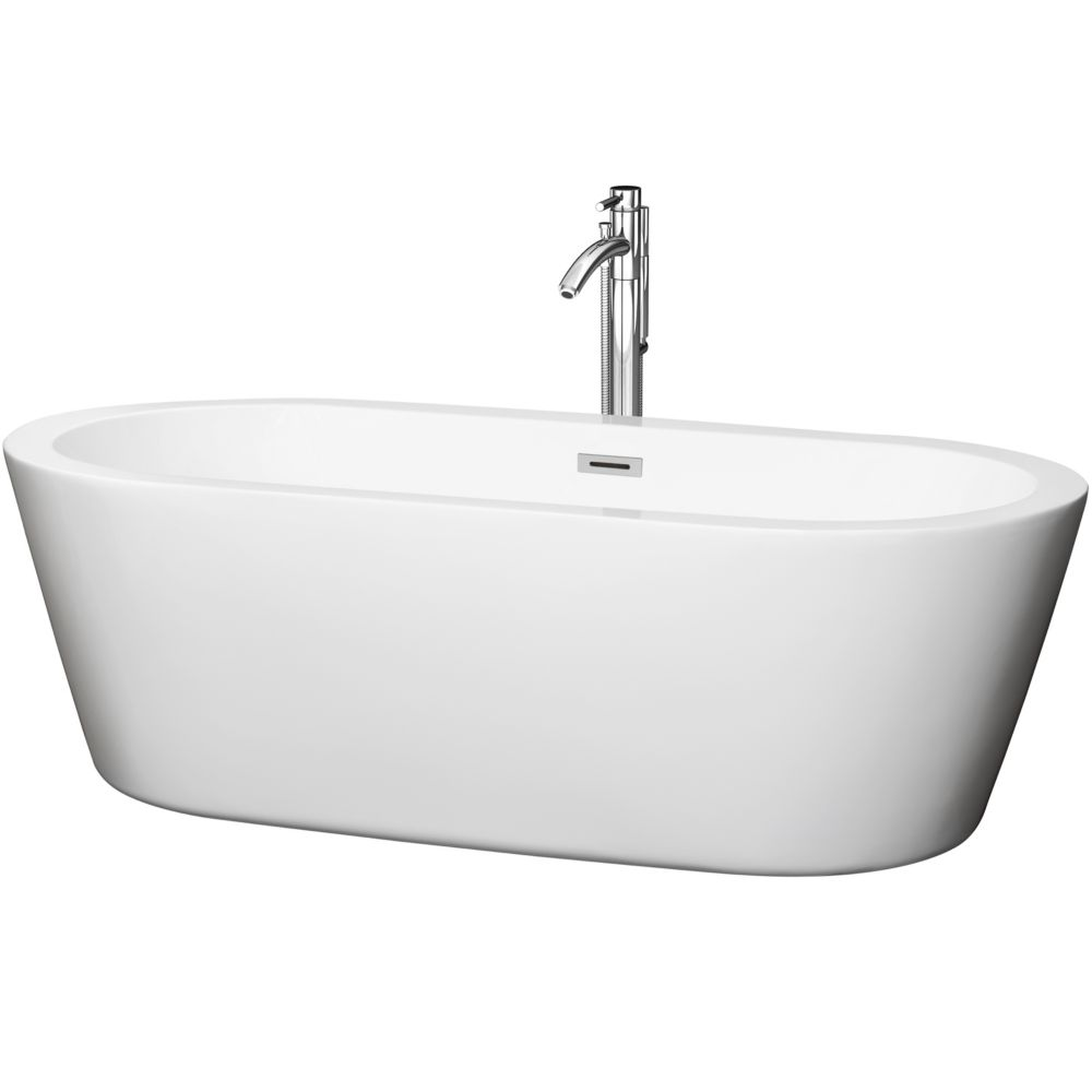 Wyndham Collection Mermaid 71-inch Acrylic Centre Drain Soaking Tub in White with Floor Mounted Faucet in Chrome