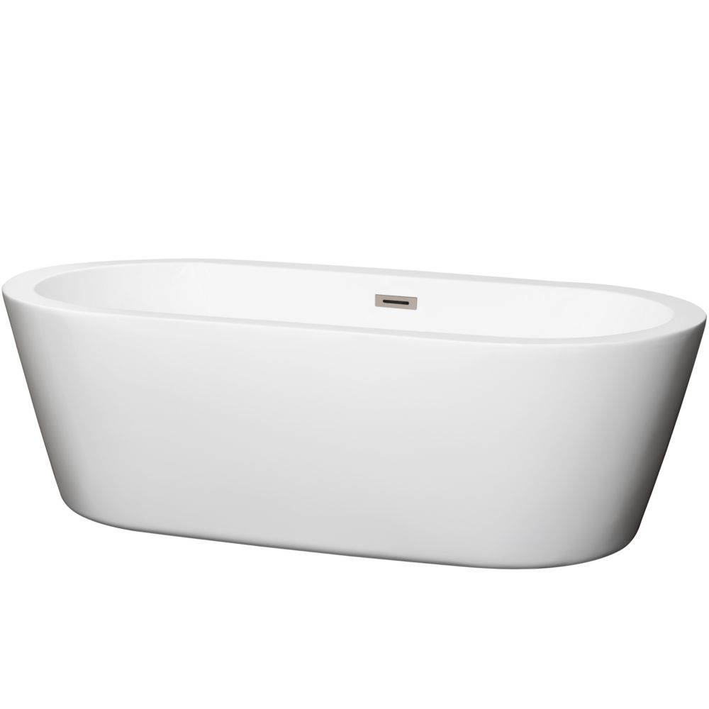 Mermaid 5 Feet 11-Inch Soaker Bathtub with Centre Drain in White