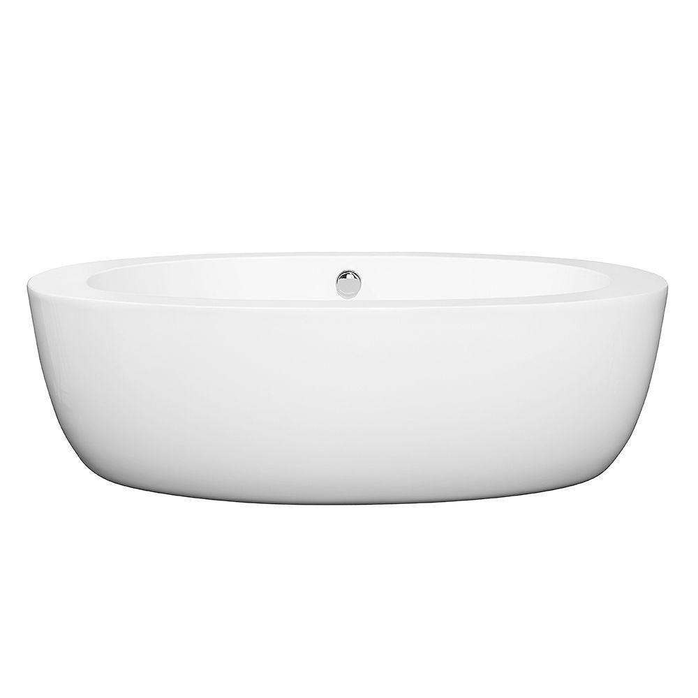 Uva 69-inch Acrylic Flatbottom Centre Drain Soaking Tub in White