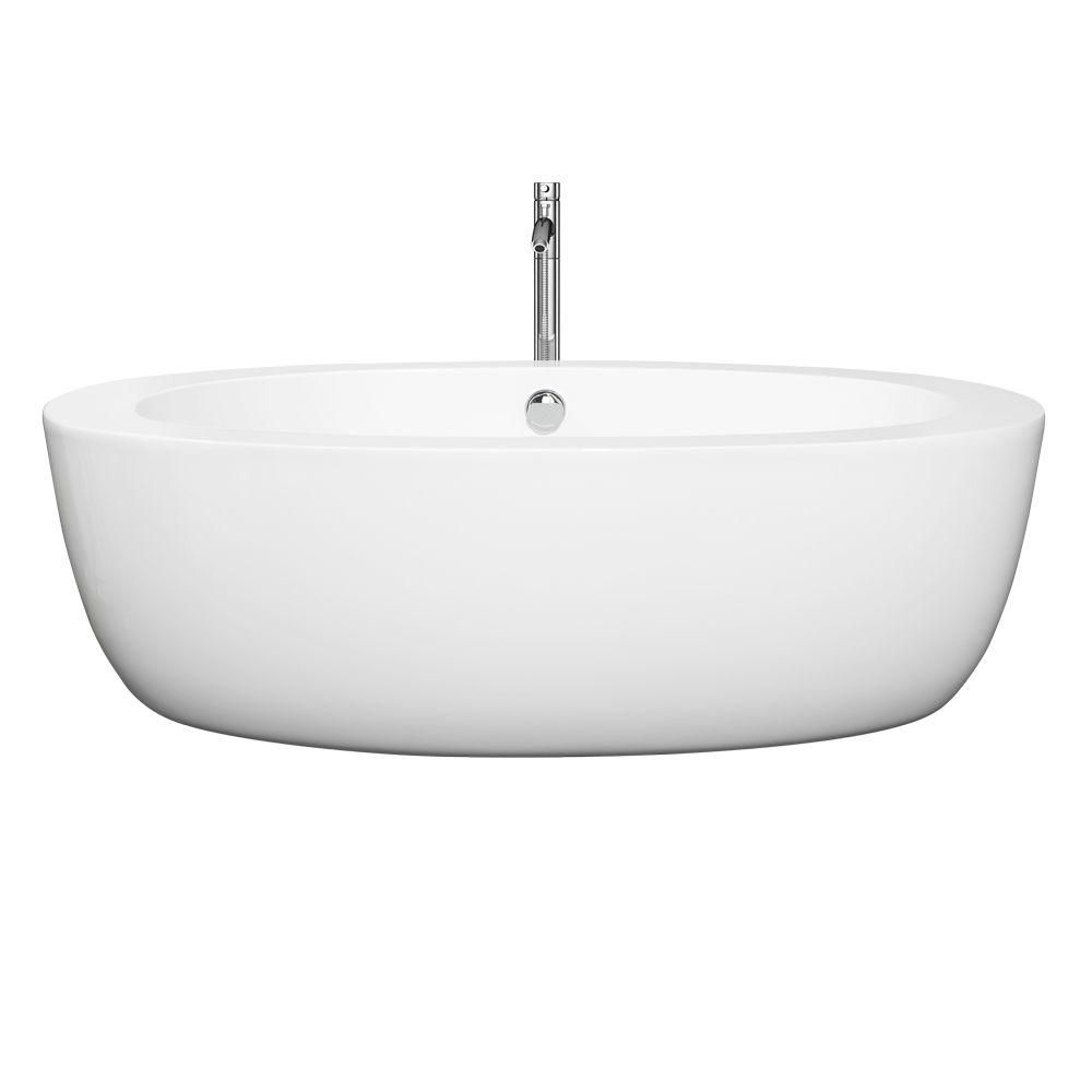 Uva 5 Feet 9-Inch Acrylic Drop-in Non Whirlpool Bathtub in White with Brushed Nickel Faucet