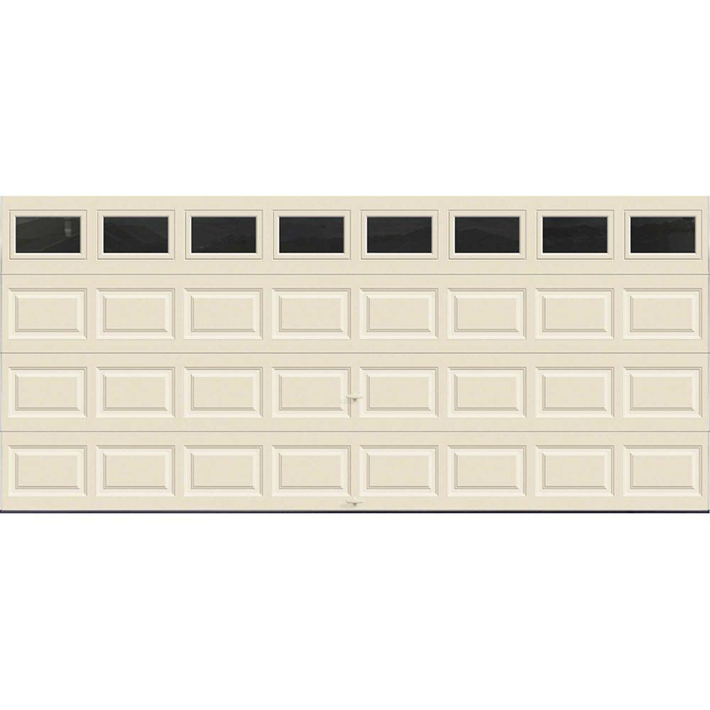 Premium Series 16 ft. x 7 ft. Intellicore Insulated Almond Garage Door with Plain Windows
