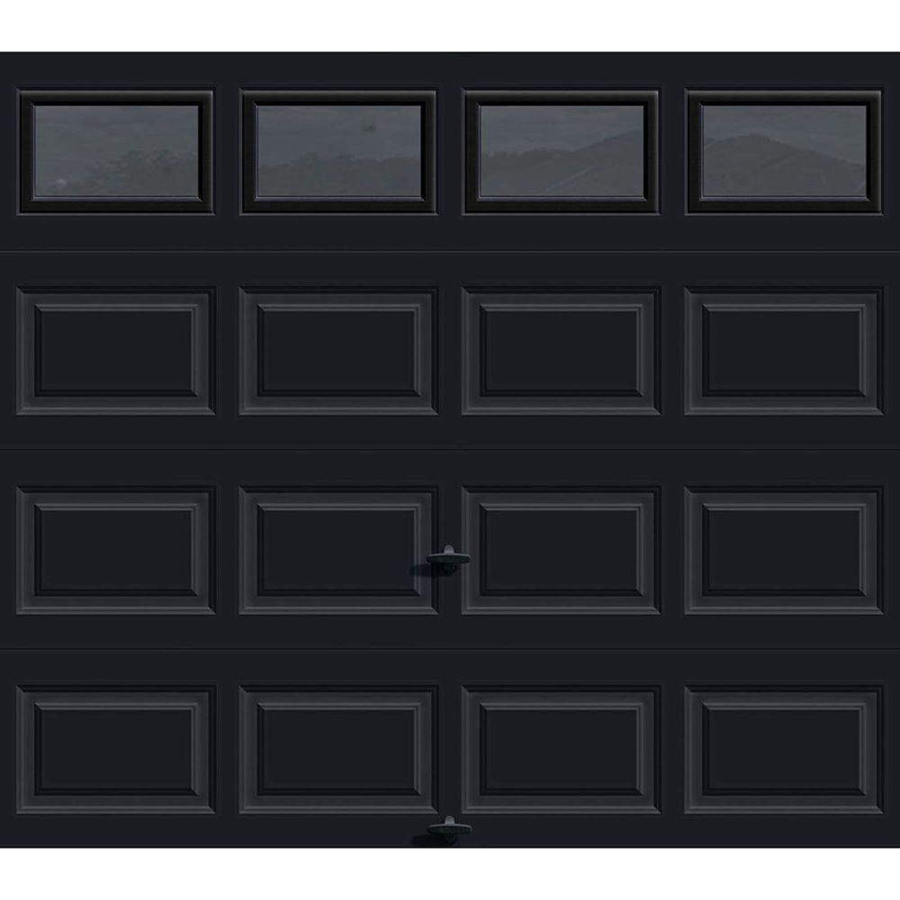 Premium Series 8 ft. x7 ft. 12.9 R-Value Intellicore Insulated Black Garage Door with Windows