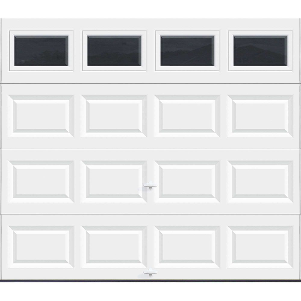 Porte de garage Série Valeur 8pi x 7pi non-isolée Blanche avec fenêtres unies